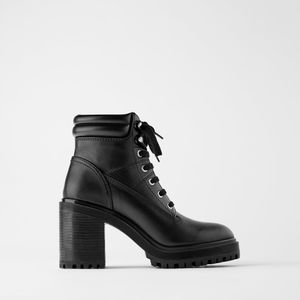 ZARA Leather heeled combat boots
